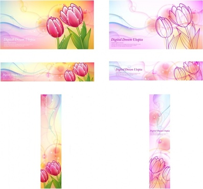 flower background sets tulip icon sketch multicolored decor