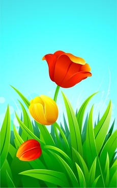 tulips painting bright colorful petals leaves decor