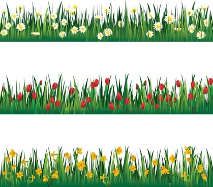 flowers meadow background templates colorful decor
