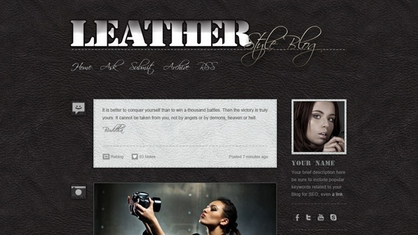 Tumblr Leather Blog PSD