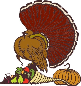 Turkey And Harvest clip art