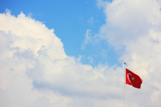 turkish flag with sky