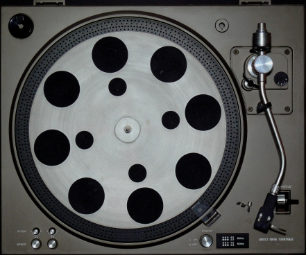 closeup of ancient film player machine
