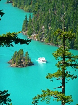 turquoise ross lake cascades