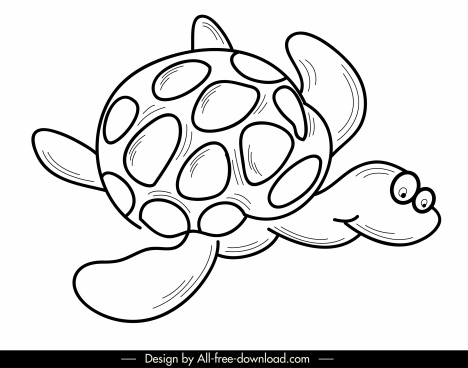 turtle icon funny cartoon sketch black white handdrawn