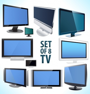tv monitor icons modern 3d design