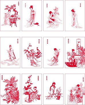twelve beauties of jinling vector dream of red mansions