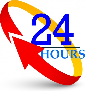 twenty four hours background 3d colored circle arrow