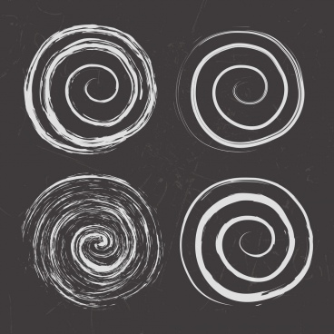 twisted circles background handdrawn black white design