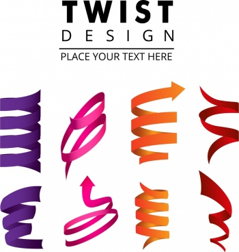 twisted decorative icons collection colorful 3d design