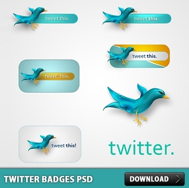 Twitter Badges Free PSD
