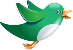Twitter bird flying green