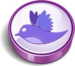 Twitter bird sign purple