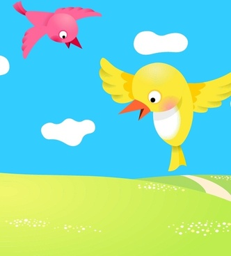 two birdies vector