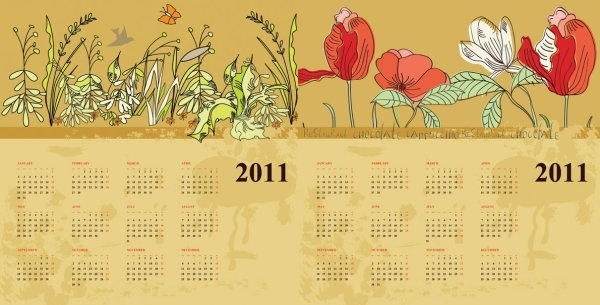 two flowers calendar 2011 vector