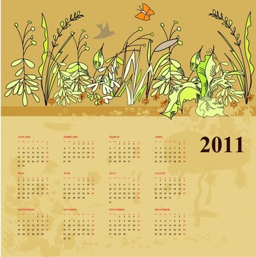 2011 calendar template nature theme handdrawn decor