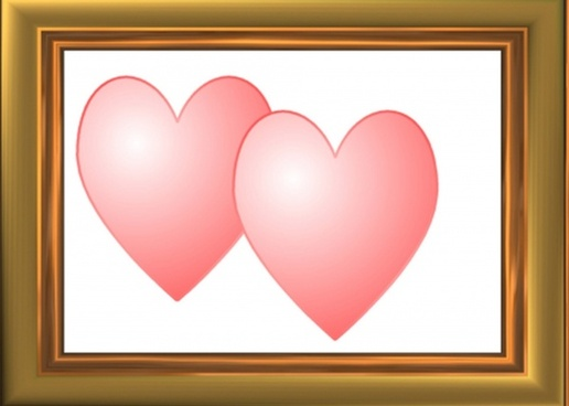 two framed hearts