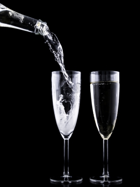 two glasses of sparking wine