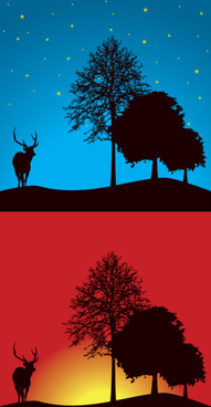 two landscapes with trees and deer