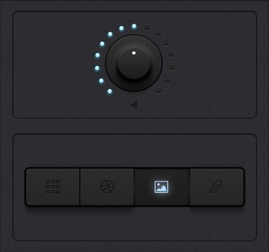 two the black tone ui design button knob
