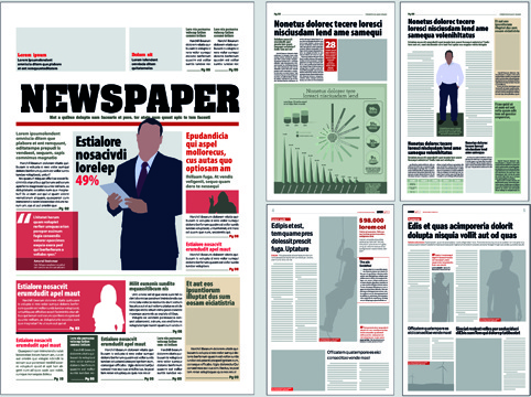 typesetting newspaper vector templates