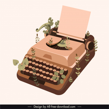 typewriter icon vintage design 3d sketch leaves decor
