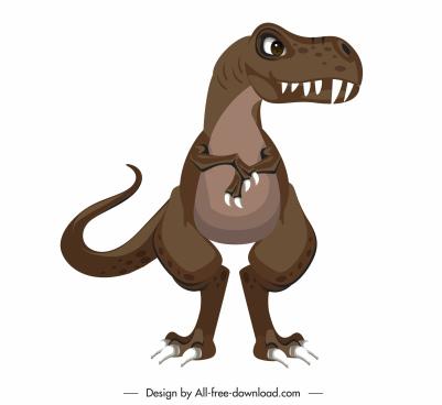 tyrannousaurus dinosaur icon colored cartoon sketch