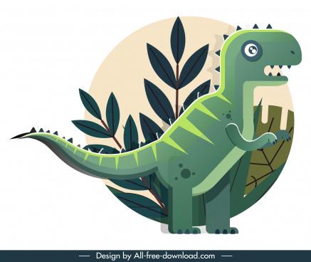 tyrannousaurus rex dinosaur icon classical flat sketch