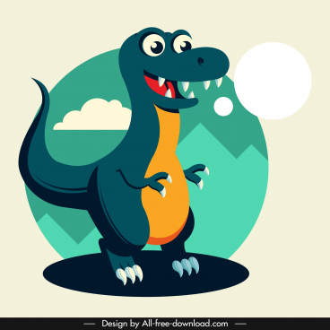 tyrannousaurus rex dinosaur icon cute cartoon character sketch