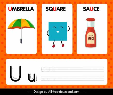 u alphabet education template colorful modern design
