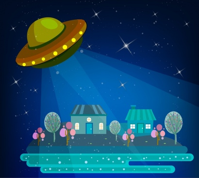 ufo background sparkling sky backdrop lighted houses icons