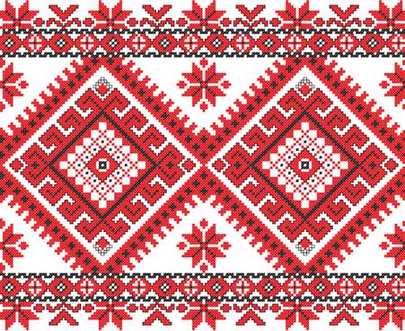 ukraine style fabric ornaments vector graphics