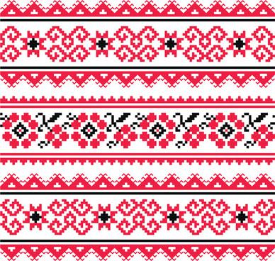ukraine style fabric pattern vector