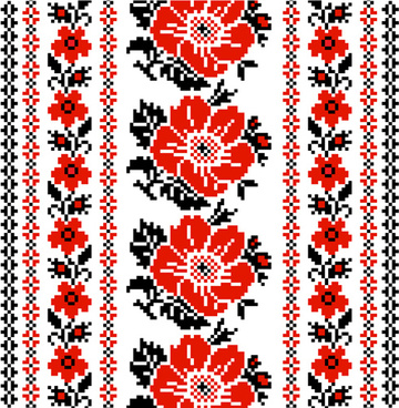 Ukrainian Styles Embroidery Patterns Vector Set