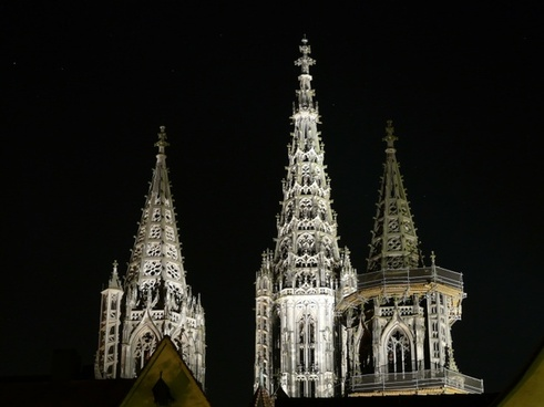 ulm cathedral night photograph spires