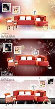 ultrarealistic indoor sofa vector