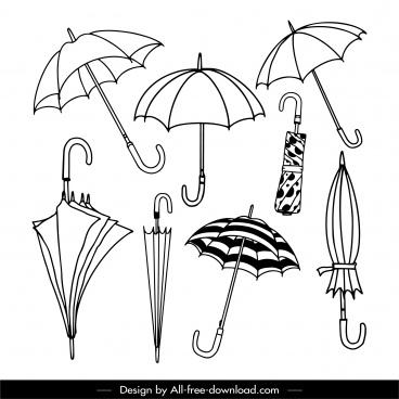umbrella icons black white handdrawn sketch