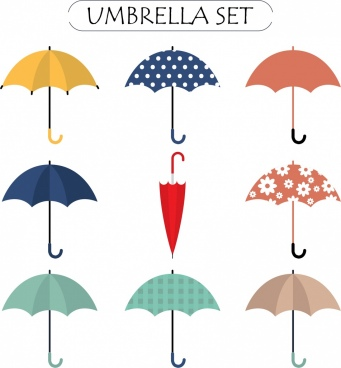 umbrella icons collection various colored types