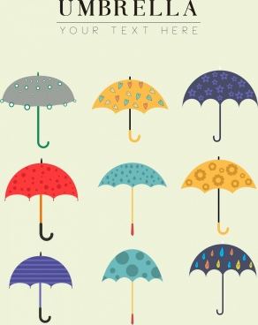 umbrella icons collection various multicolored decoration