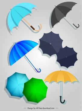umbrella icons colored flat sketch