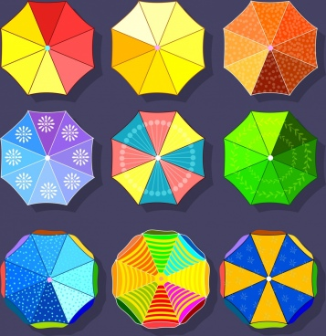 umbrella icons colorful flat decoration polygon design