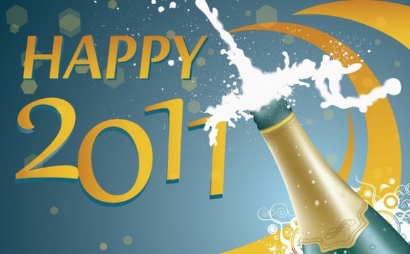 Uncorking The New Year Vector Illustration