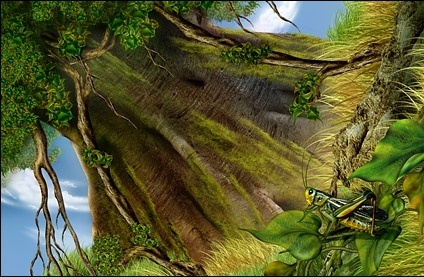 under a large tree head grass grasshopper highdefinition layered psd