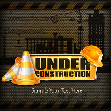 under construction design elements vector
