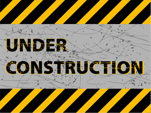 under construction sign grunge background vector