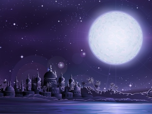 Under the full moon the ancient city of vector ancient city under full moon