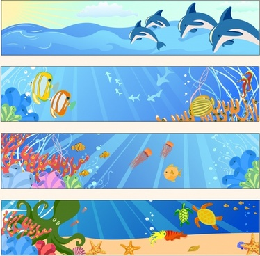 marine banner templates colorful cartoon species decor
