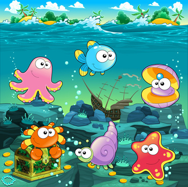 underwater world with marine animal design vector