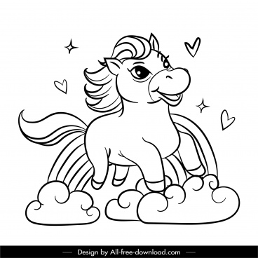 unicorn drawing cute cartoon design black white handdrawn