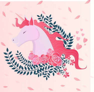 unicorn drawing pink design roses leaves decoration